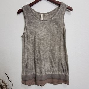 Anthropologie AMADI Lace Trim Top with Peep Back
